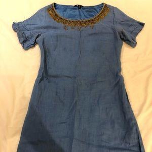 Elie Tahari for Bergdorf Goodman blue linen dress